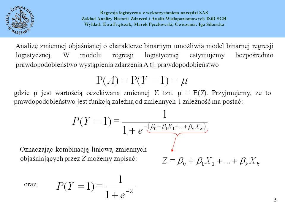 Analizę zmiennej objaśnianej o charakterze binarnym umożliwia model binarnej regresji logistycznej. W modelu regresji logistycznej estymujemy bezpośrednio prawdopodobieństwo wystąpienia zdarzenia A tj. prawdopodobieństwo