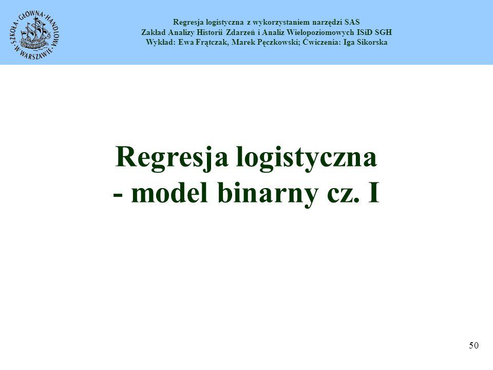 Regresja logistyczna - model binarny cz. I