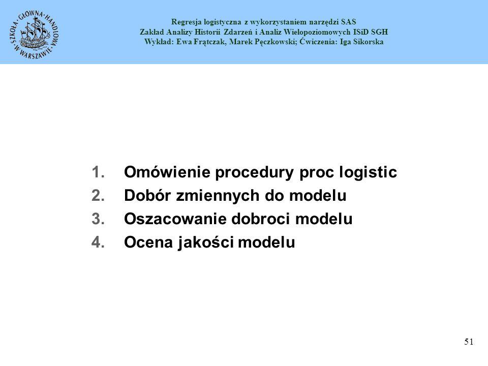 Omówienie procedury proc logistic