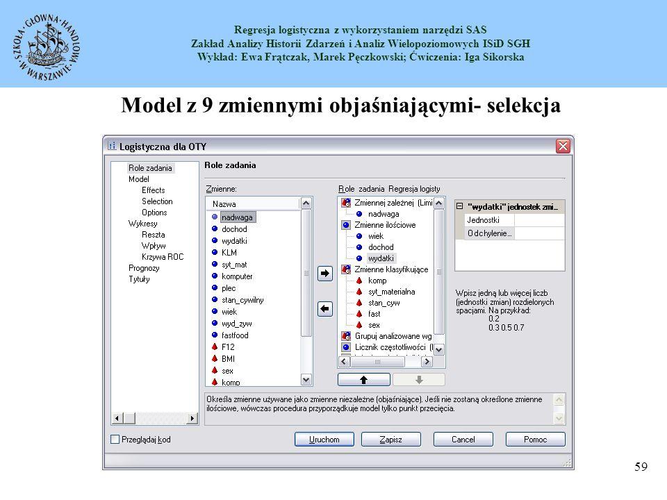 Model z 9 zmiennymi objaśniającymi- selekcja