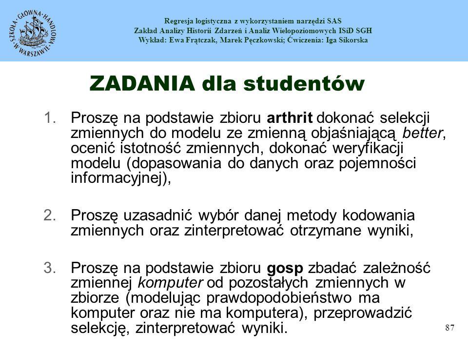 ZADANIA dla studentów