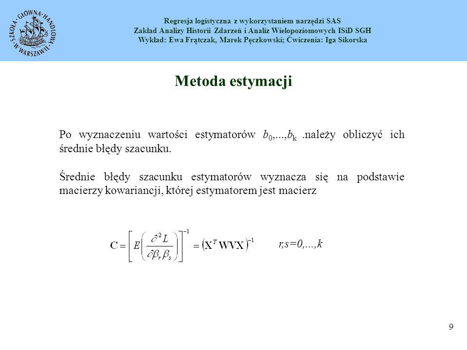 Metoda estymacji Po wyznaczeniu wartości estymatorów b0,...,bk .należy obliczyć ich średnie błędy szacunku.