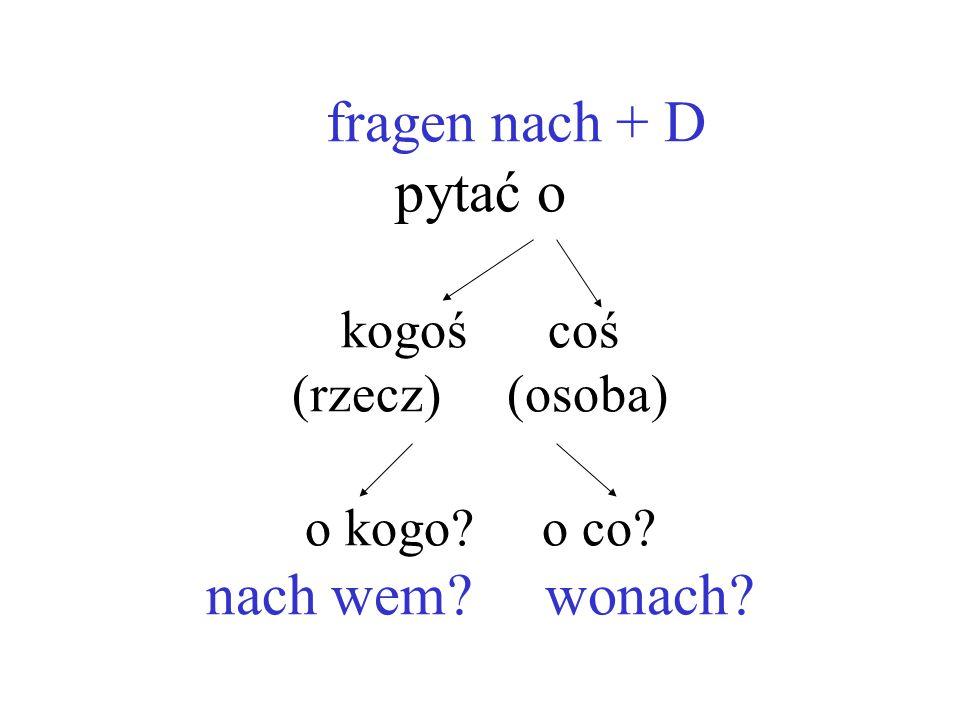 fragen nach + D pytać o kogoś coś (rzecz) (osoba) o kogo. o co