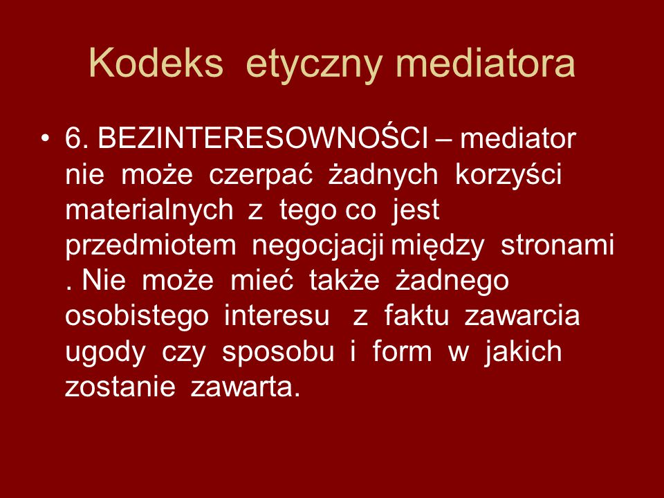 Kodeks etyczny mediatora