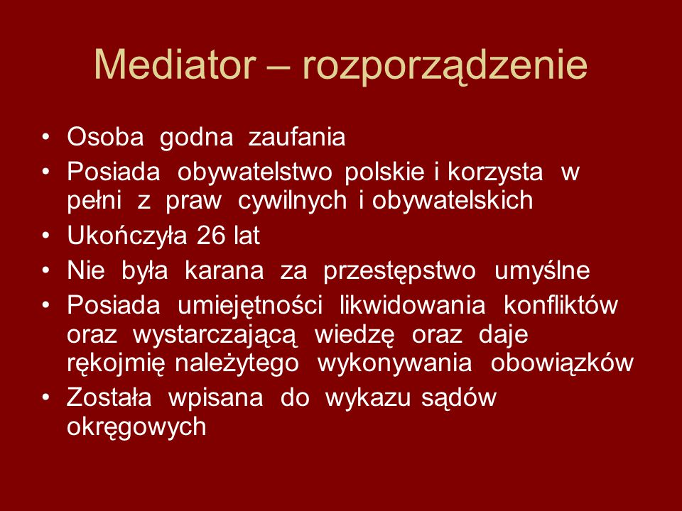 Mediator – rozporządzenie