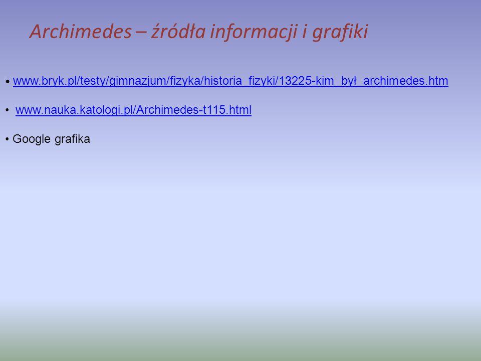 Archimedes – źródła informacji i grafiki