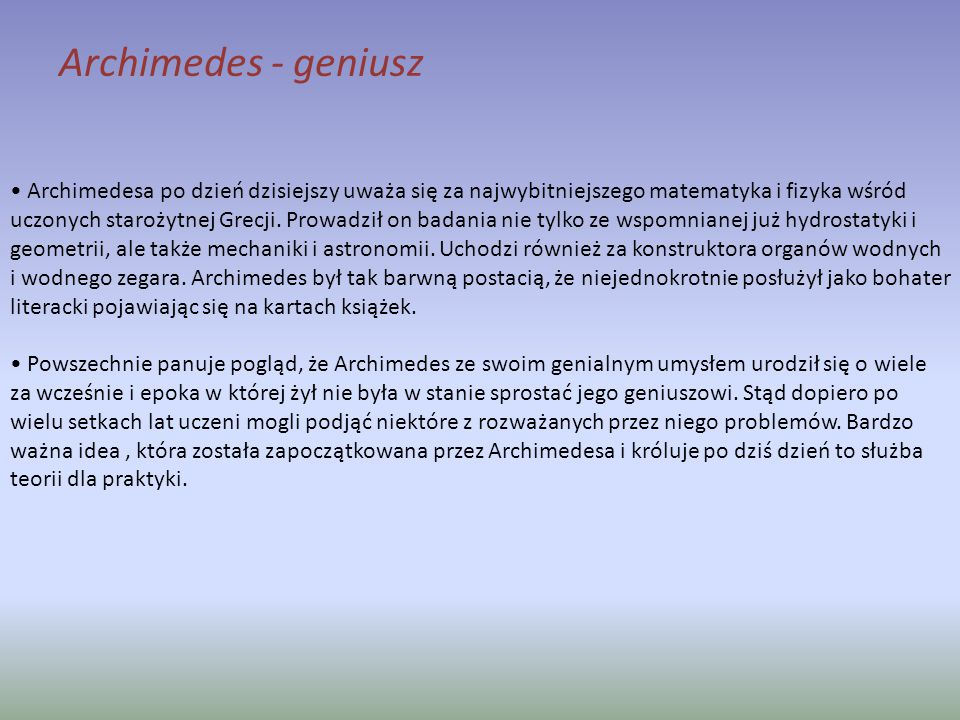 Archimedes - geniusz