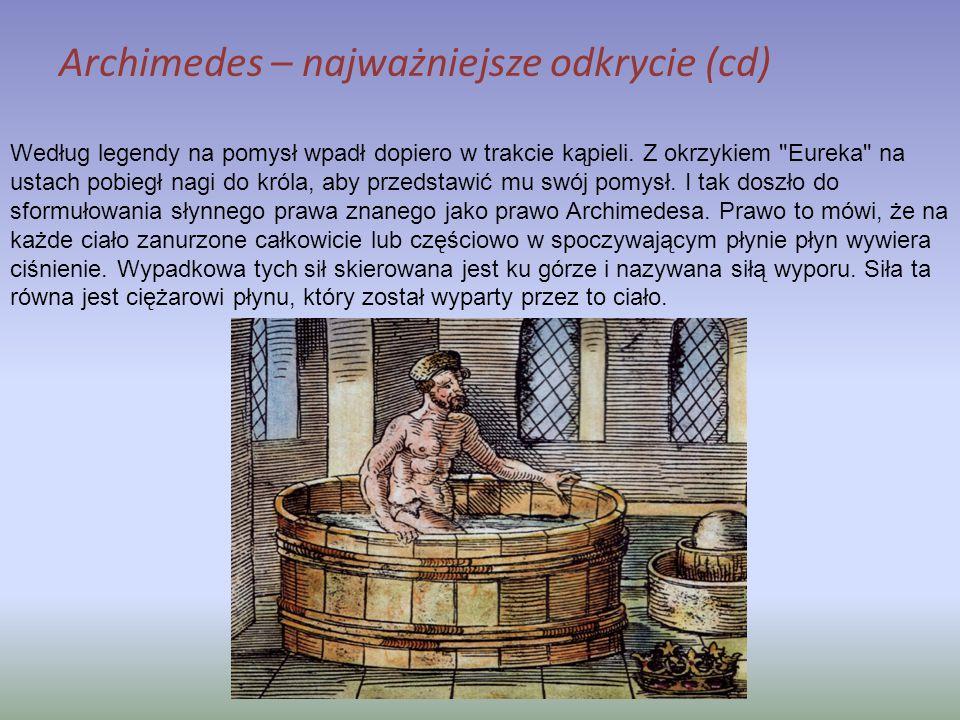 Archimedes – najważniejsze odkrycie (cd)