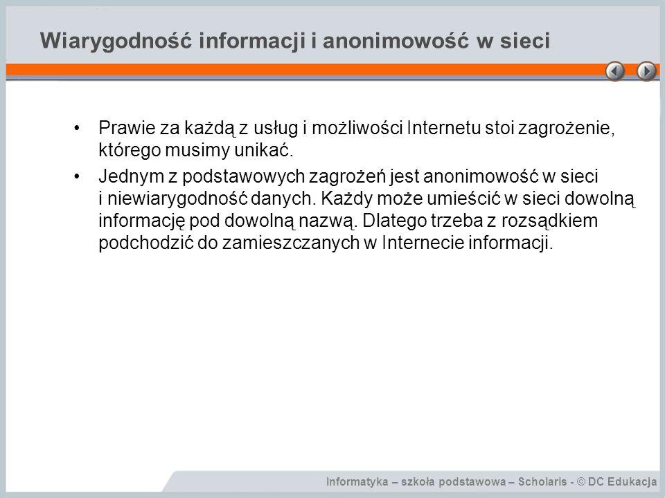 Wiarygodność informacji i anonimowość w sieci