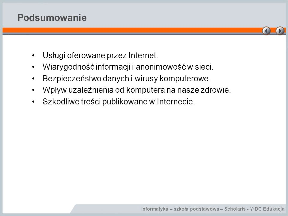 Podsumowanie Usługi oferowane przez Internet.