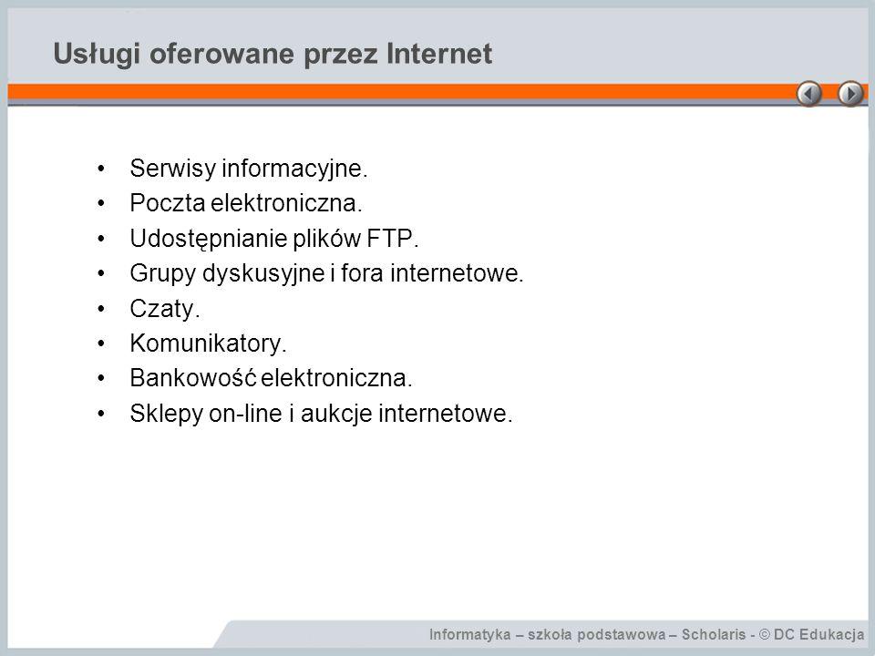 Usługi oferowane przez Internet