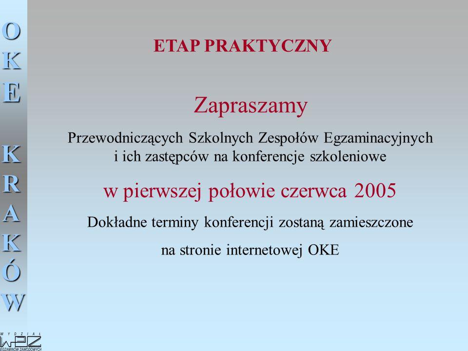 Zapraszamy w pierwszej połowie czerwca 2005 ETAP PRAKTYCZNY