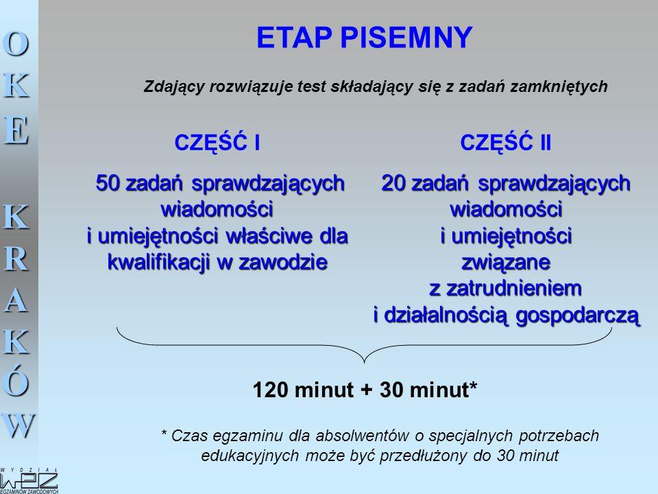 ETAP PISEMNY Zdający rozwiązuje test składający się z zadań zamkniętych. CZĘŚĆ I.