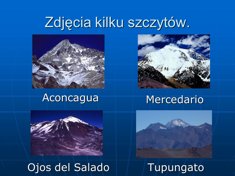 Zdjęcia kilku szczytów.
