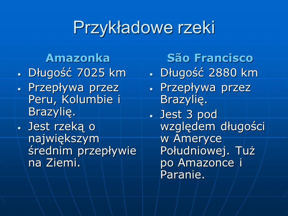 Przykładowe rzeki Amazonka Długość 7025 km