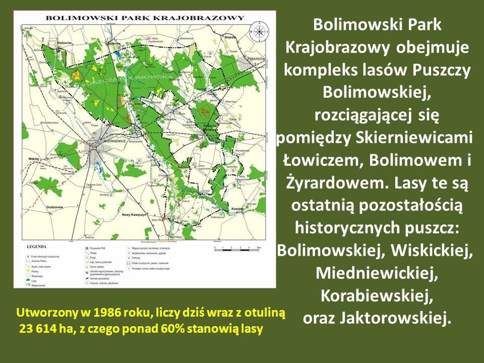 Bolimowski Park Krajobrazowy obejmuje
