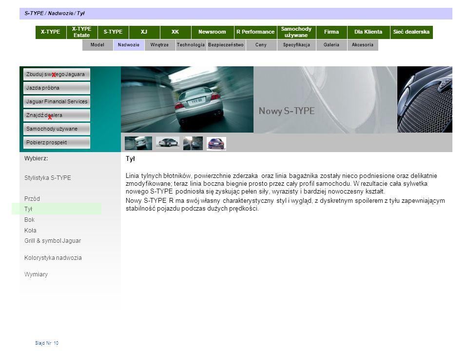 S-TYPE / Nadwozie / Tył X-TYPE. X-TYPE Estate. S-TYPE. XJ. XK. Newsroom. R Performance. Samochody używane.