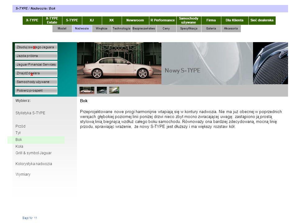 S-TYPE / Nadwozie / Bok X-TYPE. X-TYPE Estate. S-TYPE. XJ. XK. Newsroom. R Performance. Samochody używane.