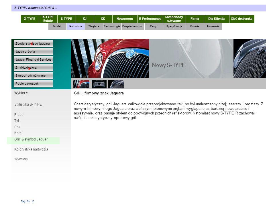 Nowy S-TYPE x x Grill i firmowy znak Jaguara
