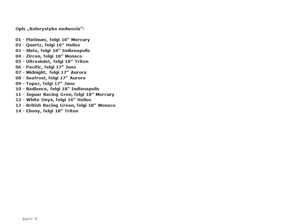 "Opis ""Kolorystyka nadwozia : 01 - Platinum, felgi 18 Mercury"