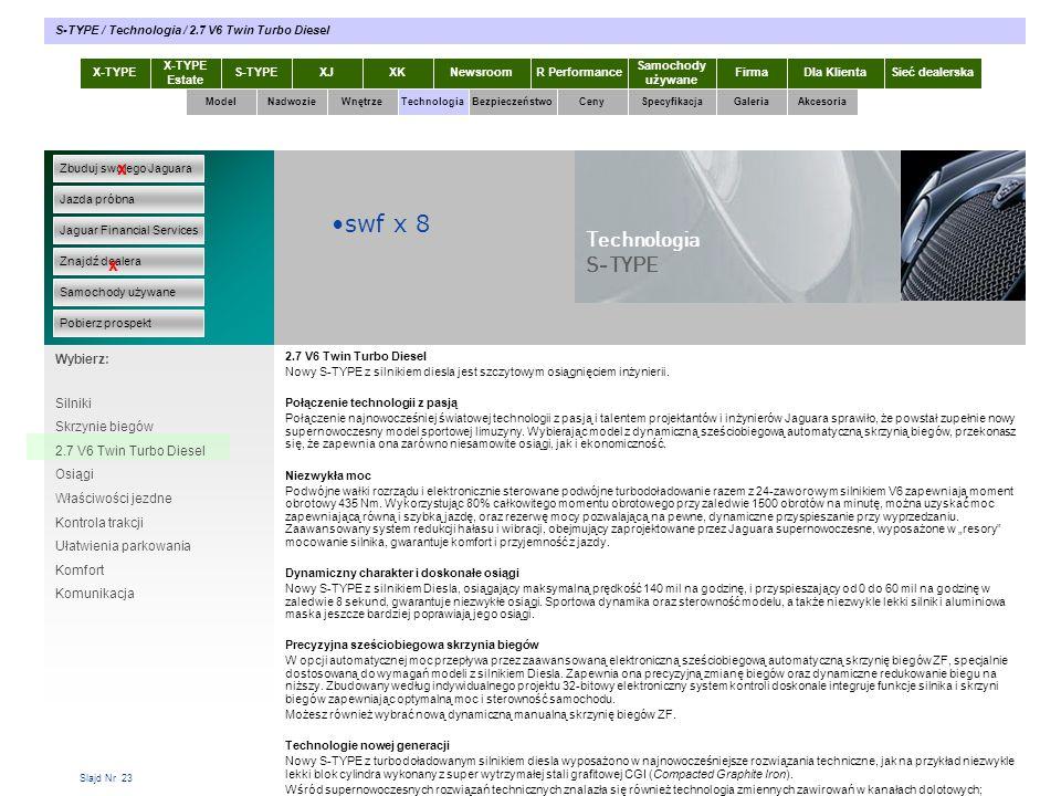 swf x 8 Technologia S-TYPE x x Wybierz: Silniki Skrzynie biegów