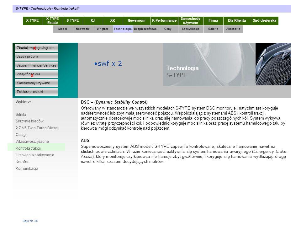 swf x 2 Technologia S-TYPE x x DSC – (Dynamic Stability Control)