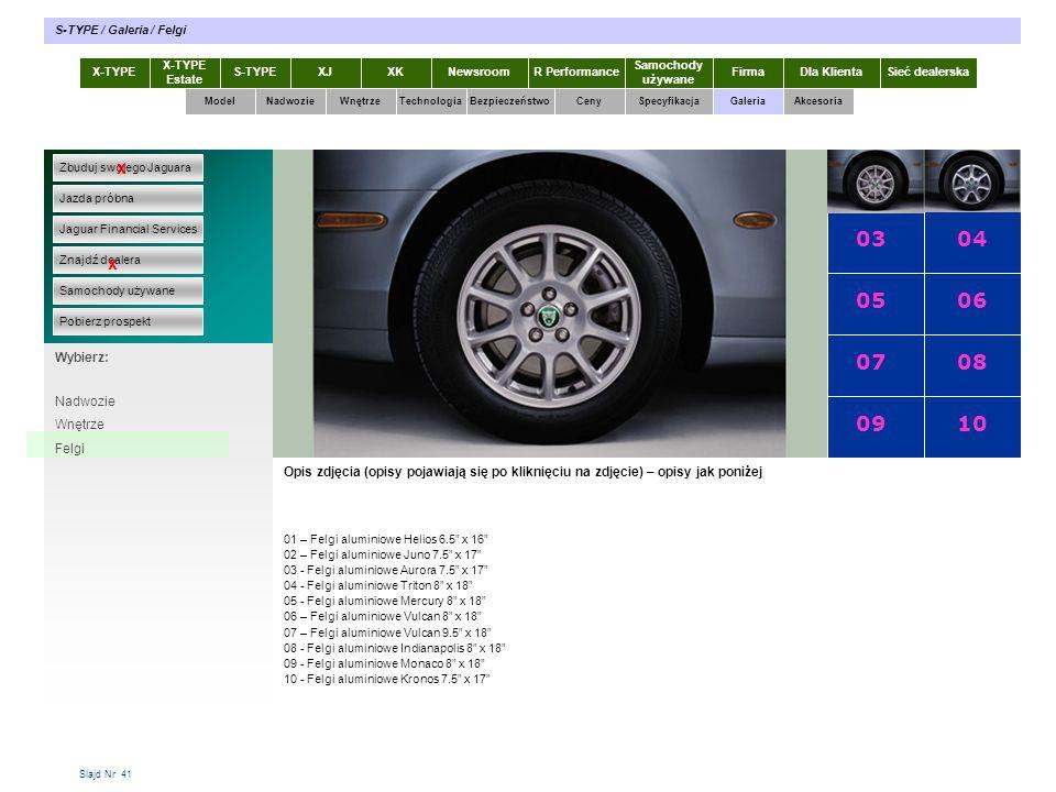 01 02 03 04 05 06 07 08 09 10 x x X-TYPE 2.0 Diesel Specyfikacja