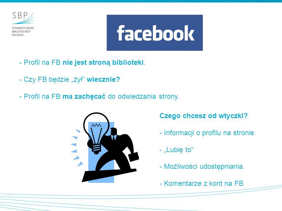 Profil na FB nie jest stroną biblioteki.