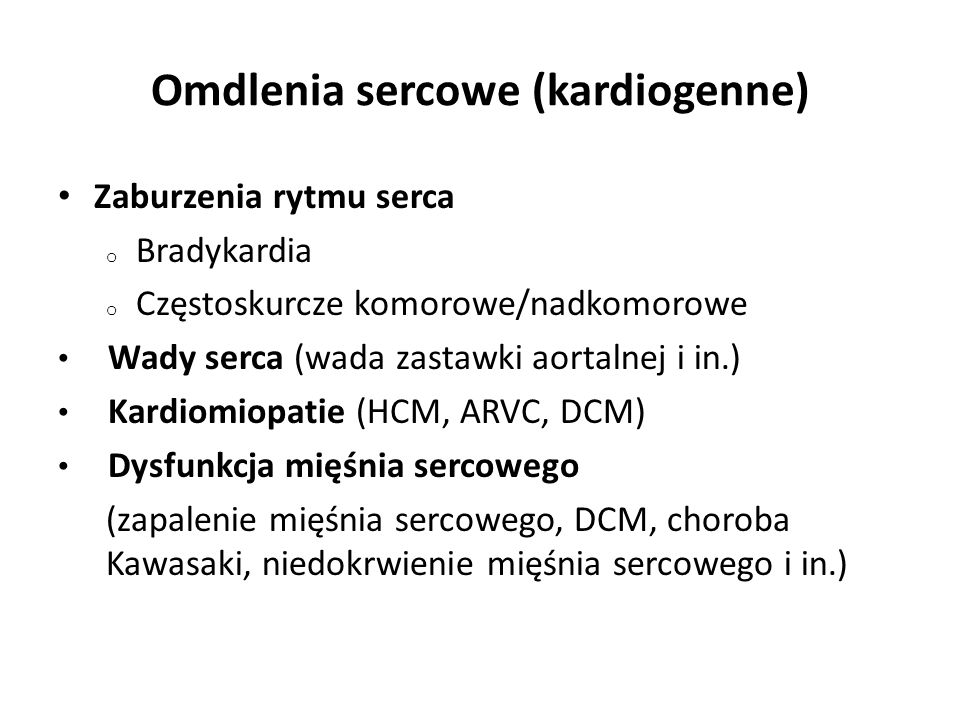 Omdlenia sercowe (kardiogenne)