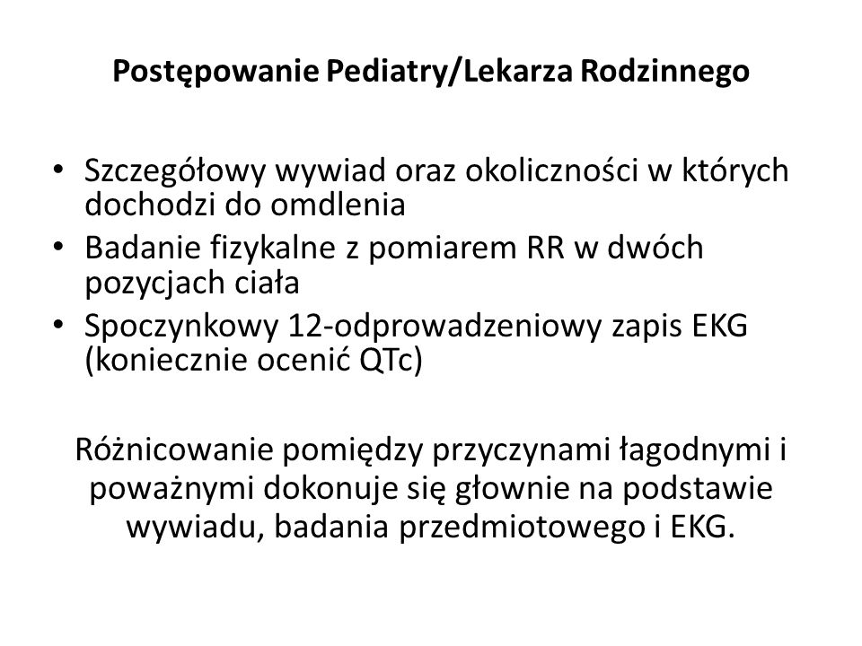 Postępowanie Pediatry/Lekarza Rodzinnego