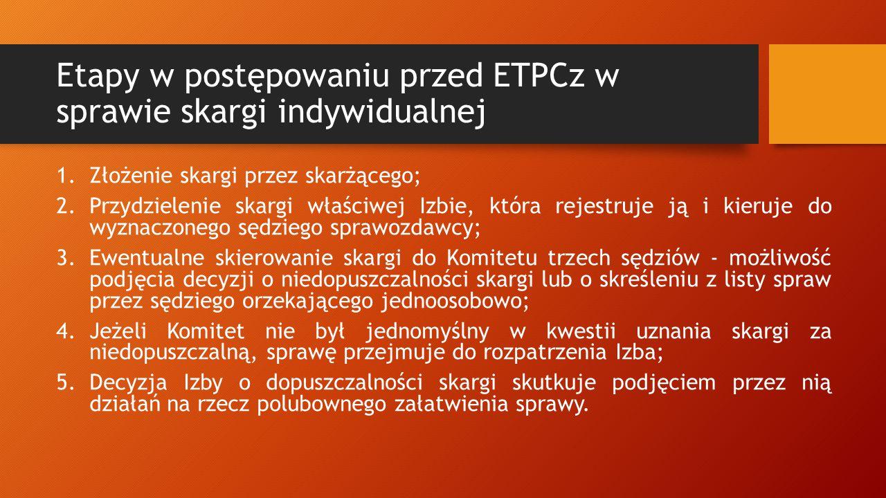 Etapy w postępowaniu przed ETPCz w sprawie skargi indywidualnej