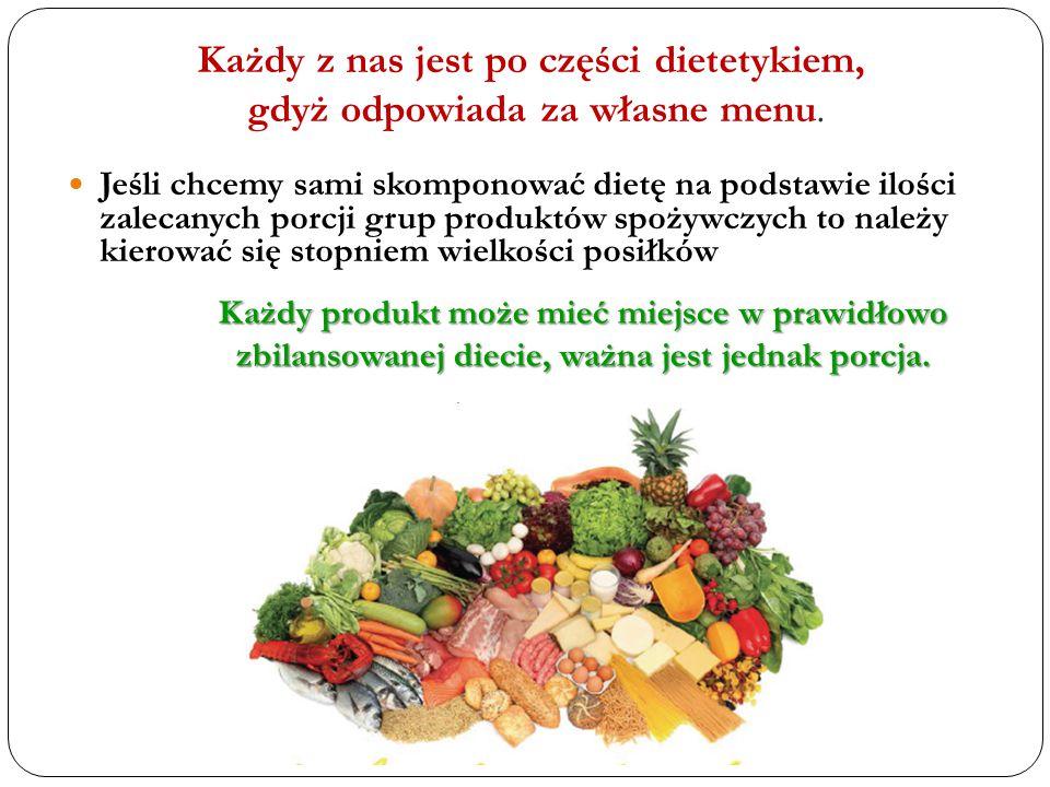 Każdy z nas jest po części dietetykiem, gdyż odpowiada za własne menu.