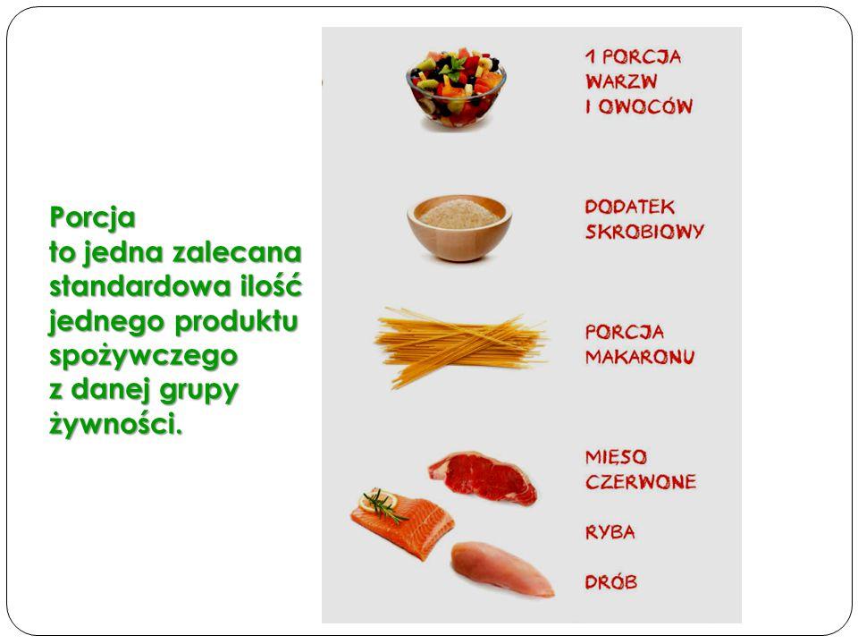 Porcja to jedna zalecana standardowa ilość jednego produktu spożywczego z danej grupy żywności.
