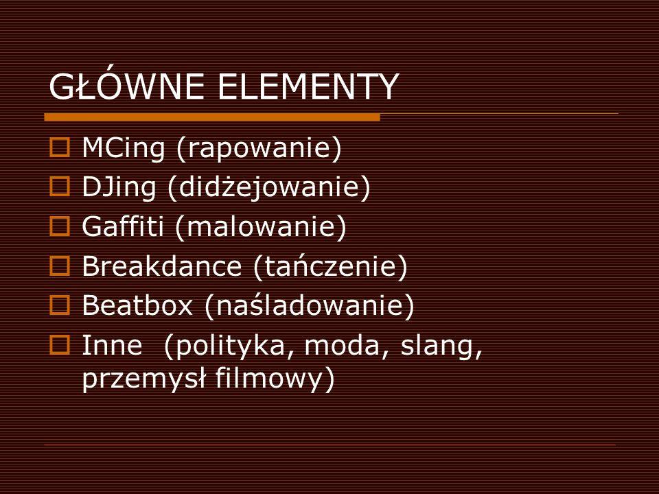 GŁÓWNE ELEMENTY MCing (rapowanie) DJing (didżejowanie)