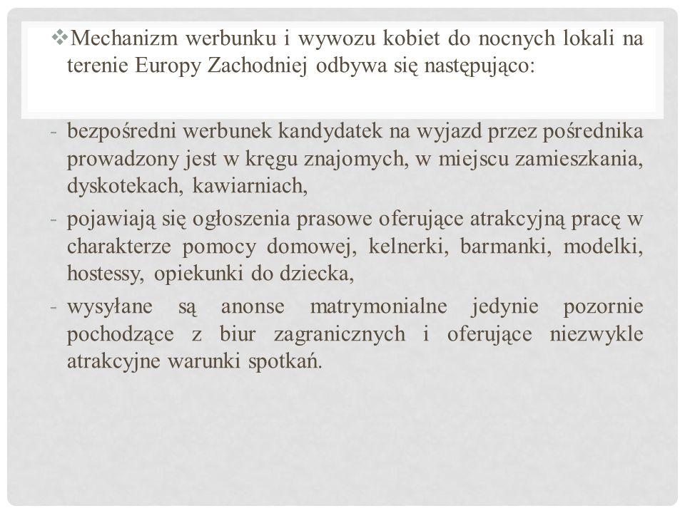Mechanizm werbunku i wywozu kobiet do nocnych lokali na terenie Europy Zachodniej odbywa się następująco:
