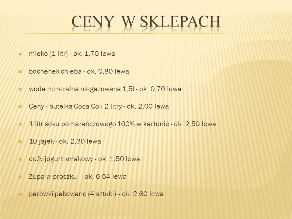 Ceny w sklepach mleko (1 litr) - ok. 1,70 lewa