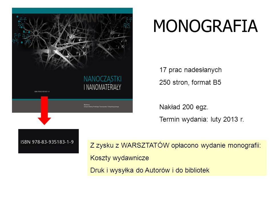 MONOGRAFIA 17 prac nadesłanych 250 stron, format B5 Nakład 200 egz.