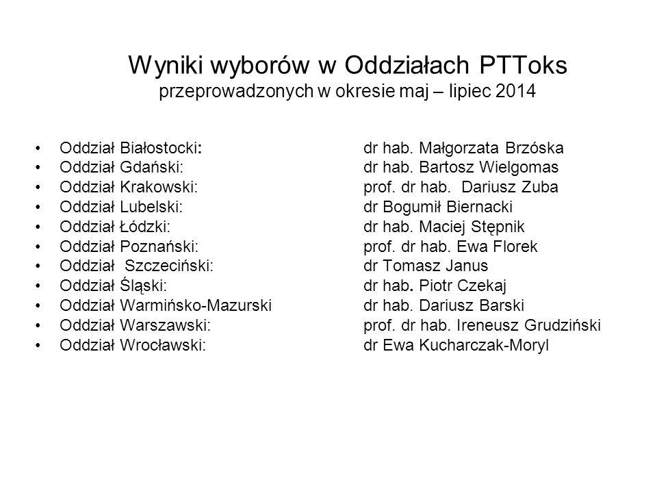 Wyniki wyborów w Oddziałach PTToks przeprowadzonych w okresie maj – lipiec 2014
