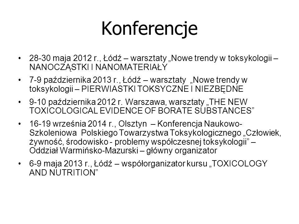 """Konferencje 28-30 maja 2012 r., Łódź – warsztaty """"Nowe trendy w toksykologii – NANOCZĄSTKI I NANOMATERIAŁY."""