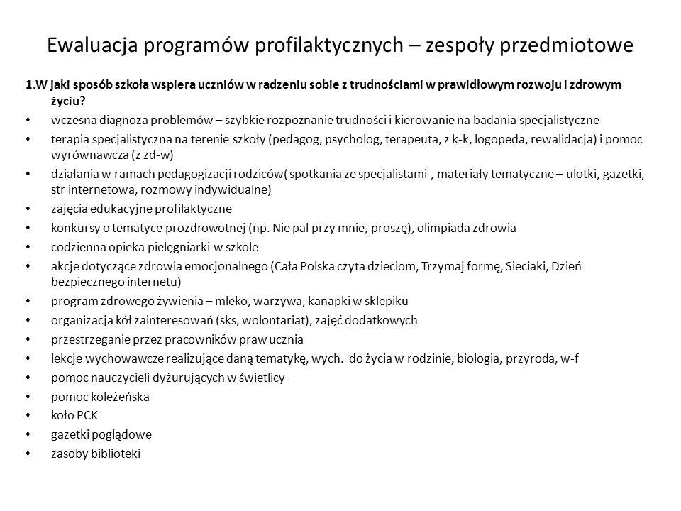 Ewaluacja programów profilaktycznych – zespoły przedmiotowe