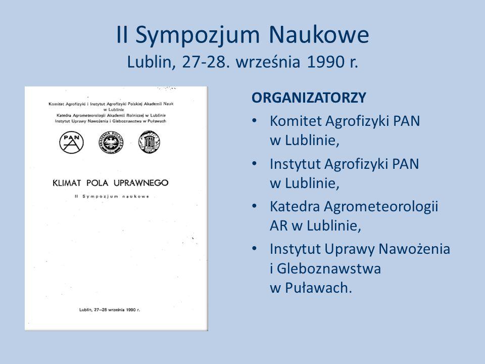 II Sympozjum Naukowe Lublin, 27-28. września 1990 r.