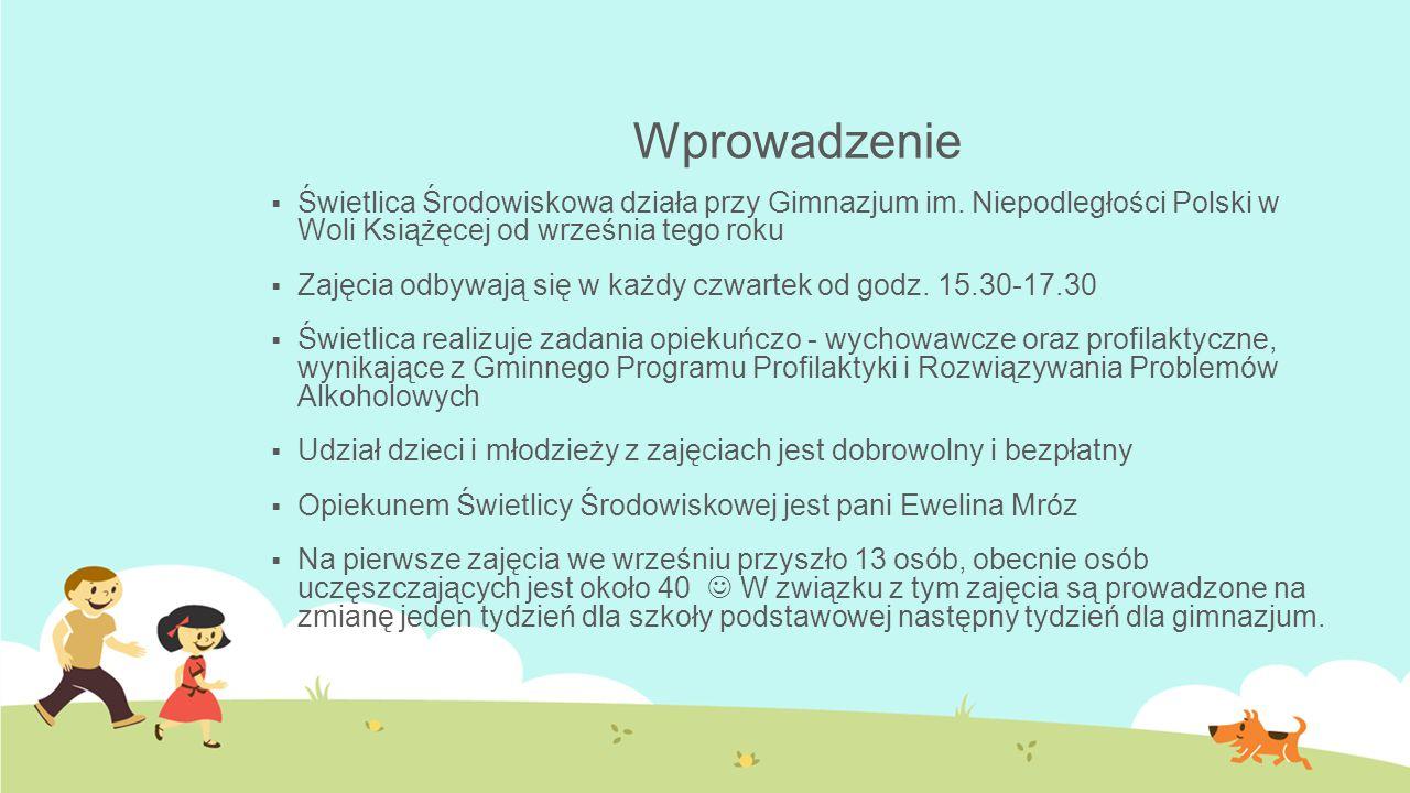Wprowadzenie Świetlica Środowiskowa działa przy Gimnazjum im. Niepodległości Polski w Woli Książęcej od września tego roku.