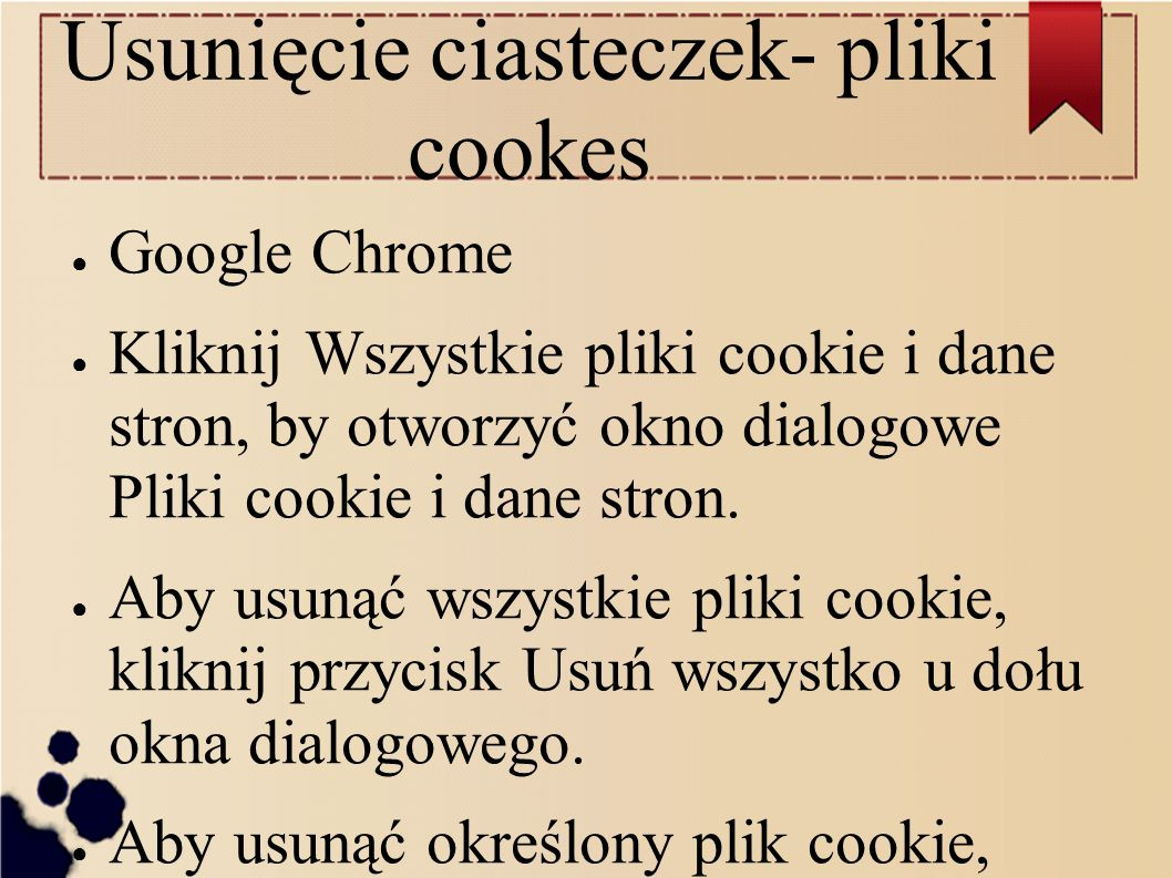 Usunięcie ciasteczek- pliki cookes