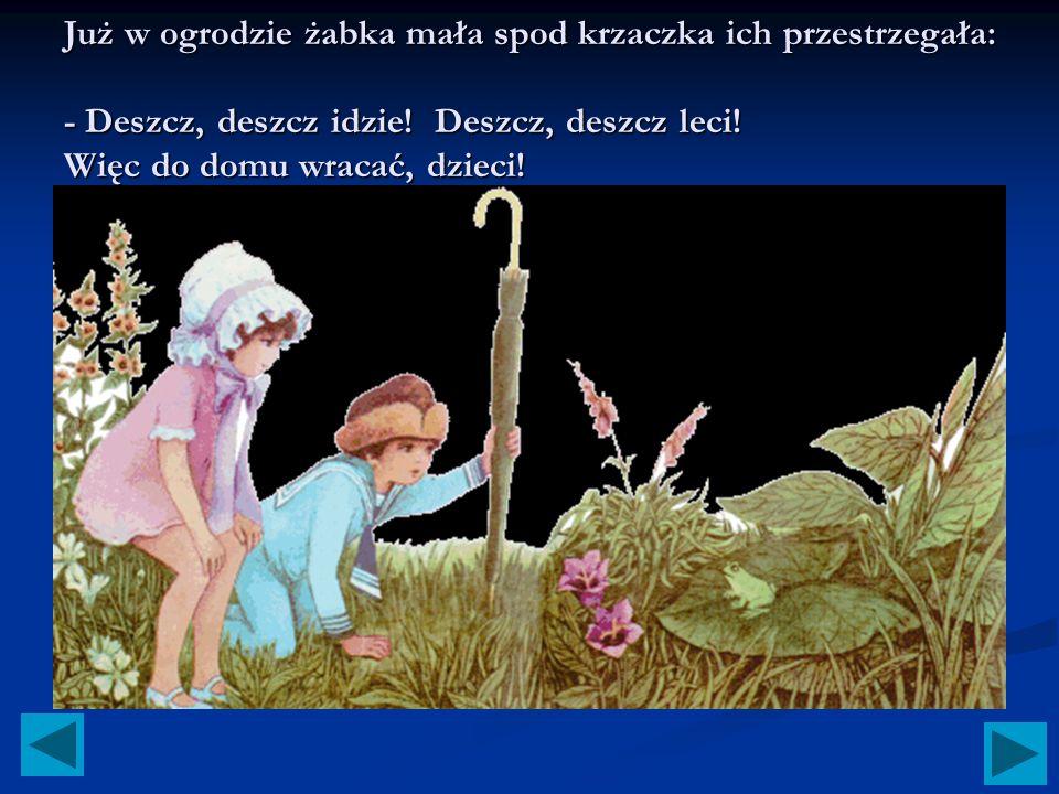 Już w ogrodzie żabka mała spod krzaczka ich przestrzegała: - Deszcz, deszcz idzie.