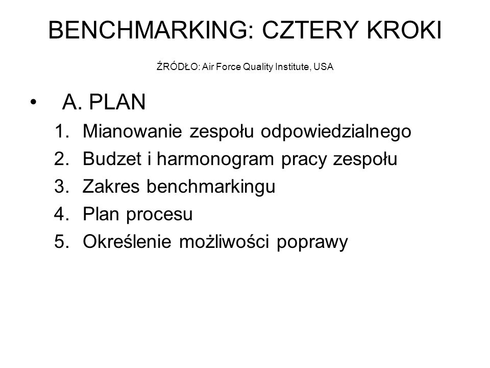 BENCHMARKING: CZTERY KROKI ŹRÓDŁO: Air Force Quality Institute, USA