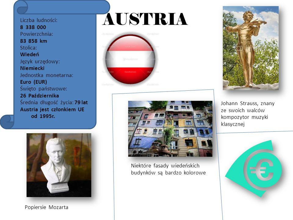 AUSTRIA Liczba ludności: 8 338 000 Powierzchnia: 83 858 km Stolica: