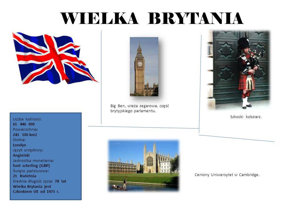 WIELKA BRYTANIA Big Ben, wieża zegarowa, część brytyjskiego parlamentu. Szkocki kobziarz.