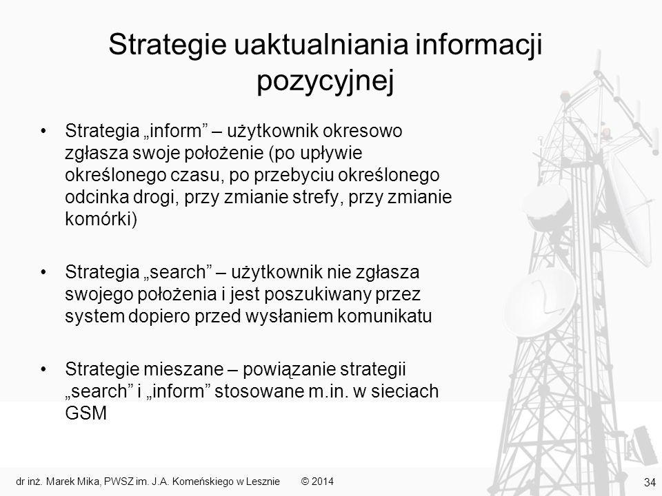 Strategie uaktualniania informacji pozycyjnej