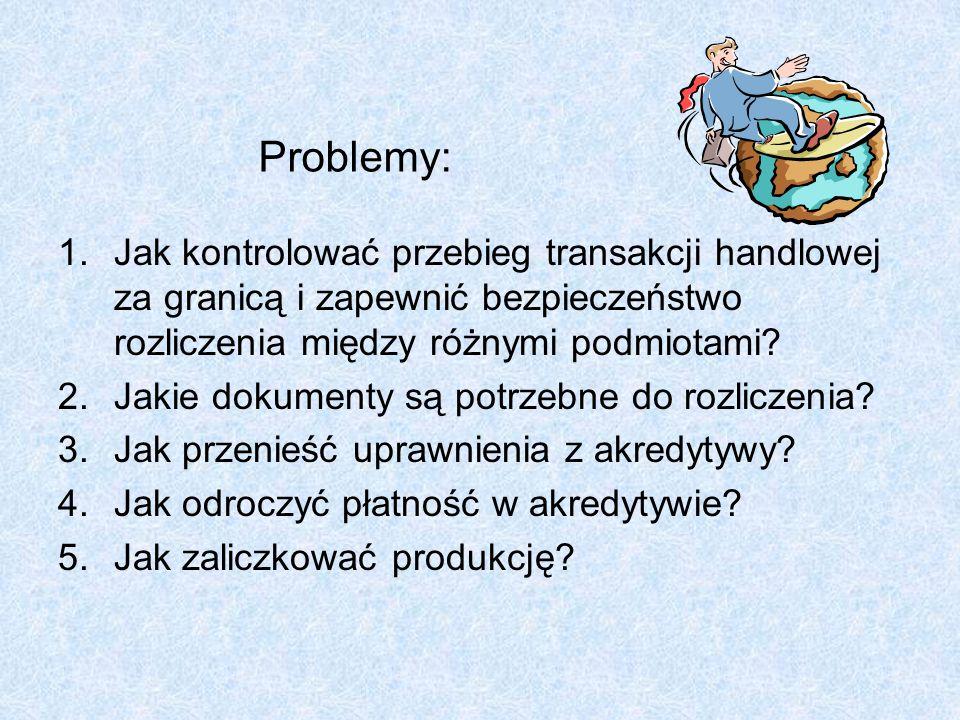 Problemy: Jak kontrolować przebieg transakcji handlowej za granicą i zapewnić bezpieczeństwo rozliczenia między różnymi podmiotami