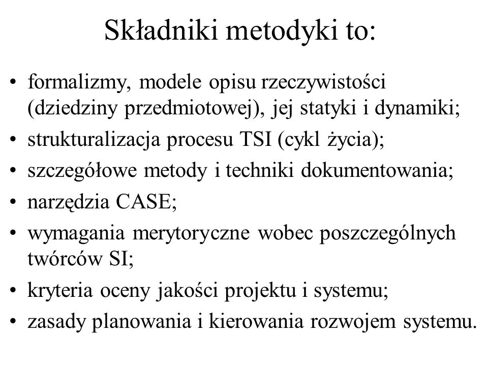 Składniki metodyki to: